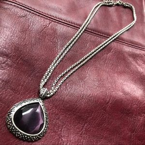 Coldwater Creek Amethyst Medallion Necklace